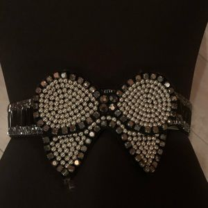 Black Sparkly Beaded Bow Belt